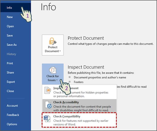 Menjalankan Compatibility Checker Sebelum Menyimpan Dokumen 1