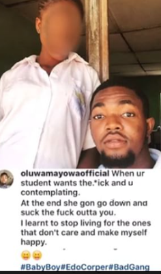 N.Y.S.C Had Sex With a Teenage School Girl and Brags About It On Social Media