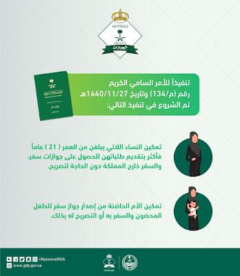 الجوازات تستقبال طلبات النساء للسفر خارج المملكة دون الحاجة لتصريح