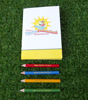 A scorecard and pencils from Disney's Winter Summerland Miniature Golf in Orlando, Florida from our friend Shelley Barrett