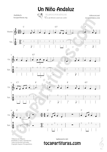 Tablatura y Partitura de Ukelele Punteo del Villancico Un Niño Andaluz Tablature Ukelele Sheet Music with chords