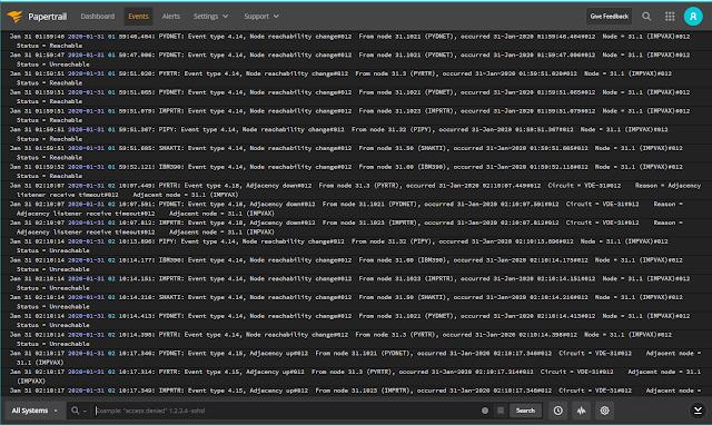 Supratim Sanyal's Blog - DECnet/Python nodes logging to Papertrail cloud-hosted log management service