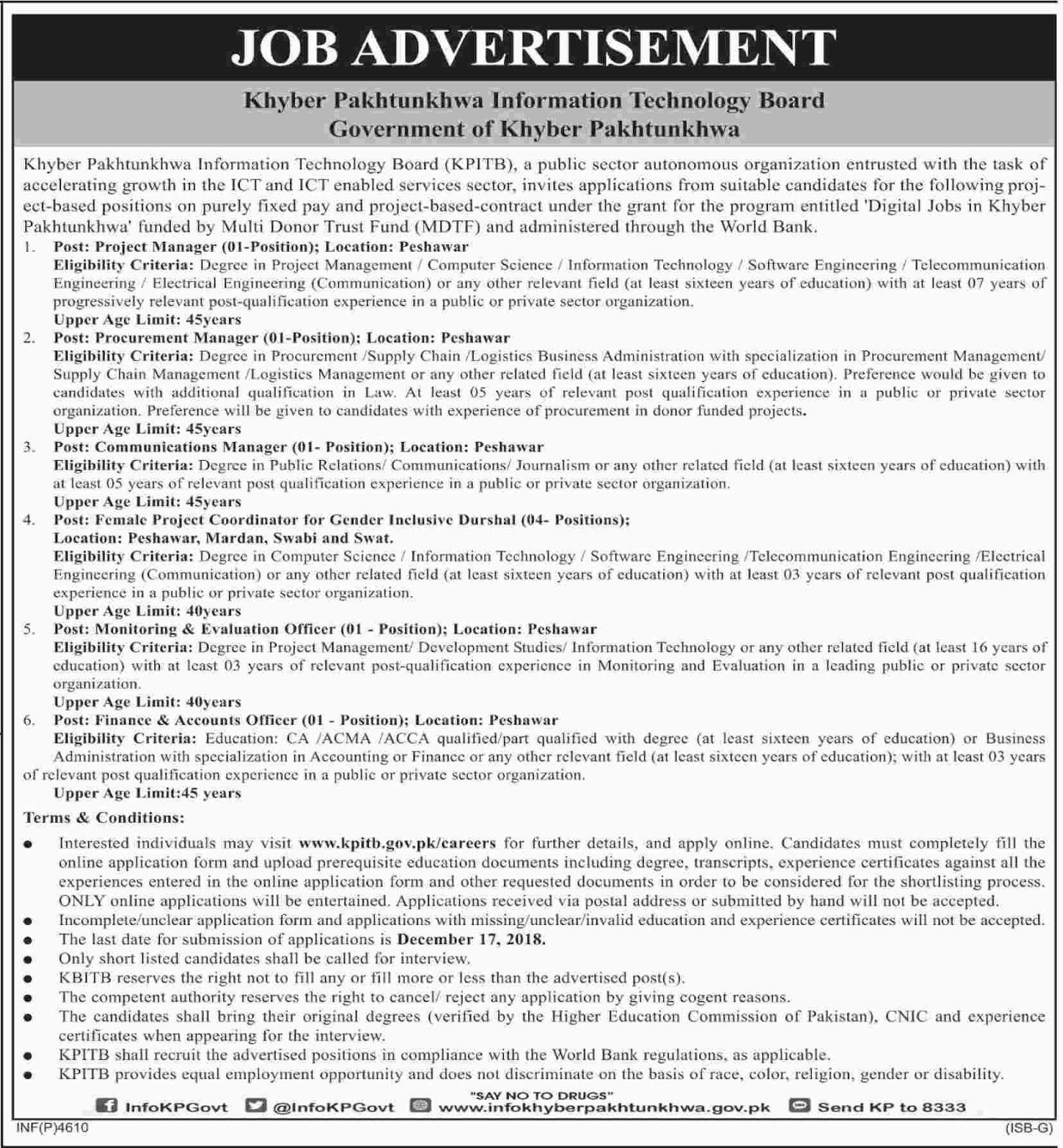 Jobs in Khyber Pakhtunkhwa Information Technology Board Dec 2018