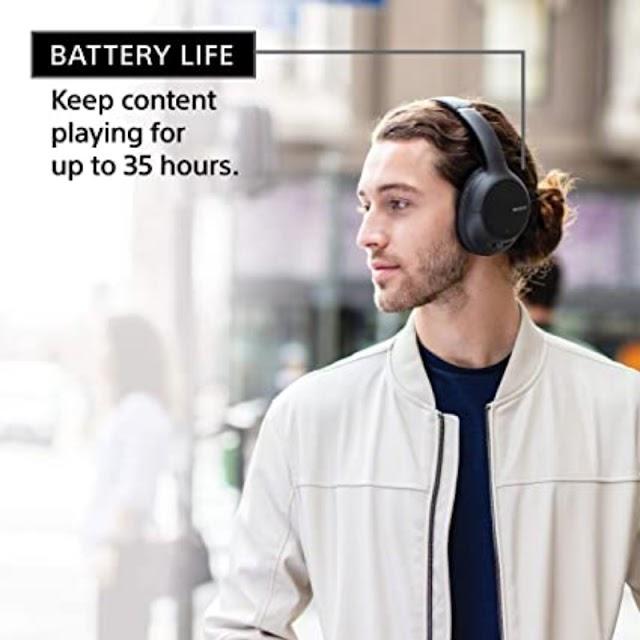 Sony WHCH710N - Auriculares inalámbricos con cancelación de ruido con micrófono para llamadas telefónicas, color negro
