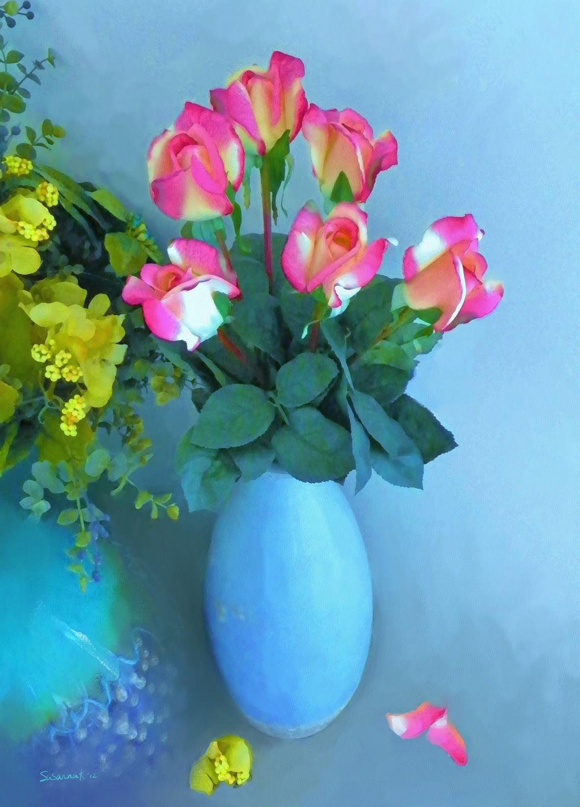 Paintings of artists original unusual art painting of roses and painting of roses and flowers in a vase reviewsmspy