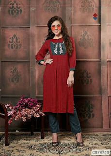 Pretty Rayon Embroidered Kurti and Pant Sets