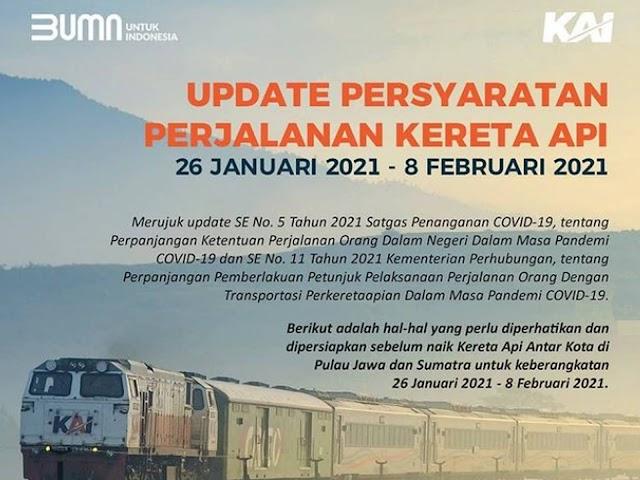 Calon Penumpang Wajib Tahu, Ini Aturan Naik Kereta Api  Jarak Jauh 26 Januari - 8 Februari 2021