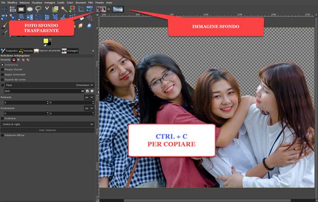 copiare la foto con lo sfondo trasparente