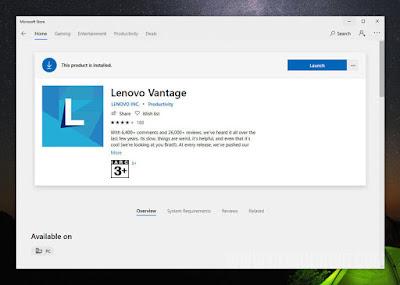 Instalasi Kegunaan Lenovo Vantage di Windows