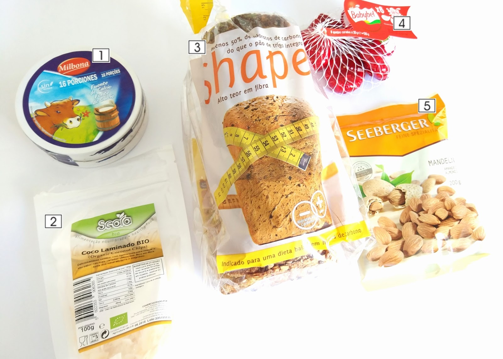 Os meus snacks low carb favoritos: Milbona, Seara, Shape, Babybel, Seeberger