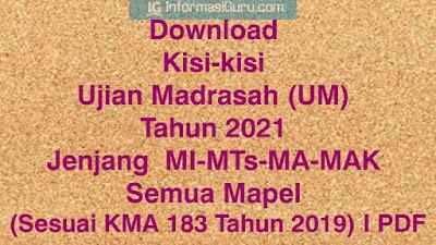 Download Kisi-kisi Ujian Madrasah (UM) Tahun 2021 Jenjang  MI-MTs-MA-MAK Semua Mapel (Sesuai KMA 183 Tahun 2019) I PDF