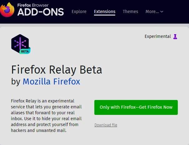 صورة إضافة Firefox Relay Beta