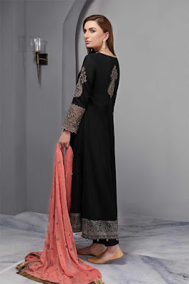 Maria B long front open embroidered black color suit back design