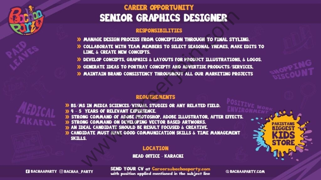 Bachaa Party Jobs 2021 For Senior Graphics Designer - Apply at careers@bachaaparty.com