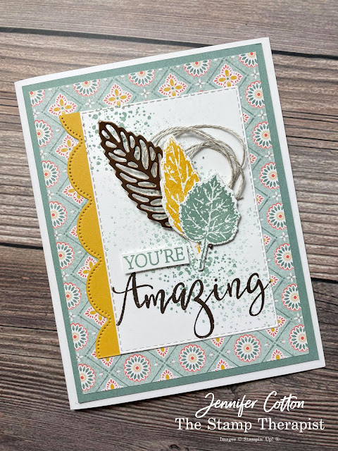 Fall Card: Stampin' Up! Gorgeous Leaves Bundle and Create with Friends set.  I alsu used the Harvest Meadow DSP, Brushed Metallic Cardstock, Scalloped Contours Dies, Stitched Rectangle Dies, and more!  Supply List, Video, and Measurements on the blog!  #StampinUp #StampTherapist #GorgeousLeaves #CreateWithFriends