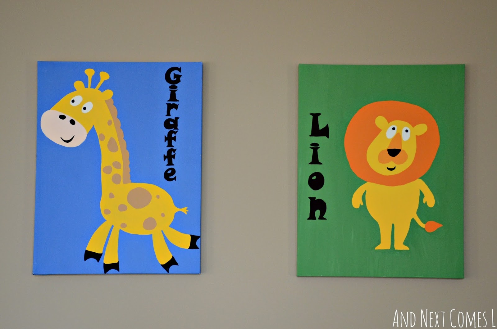 DIY hand drawn and hand painted animal artwork for children's play spaces from And Next Comes L