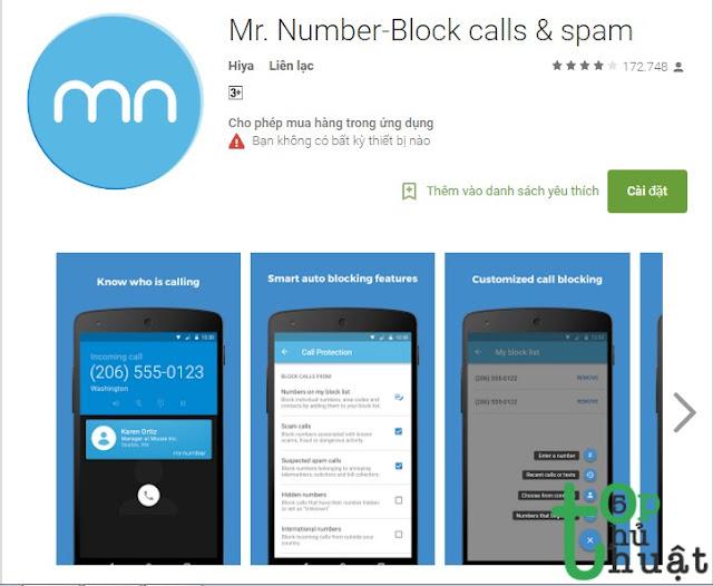 Ứng dụng chặn cuộc gọi Spam - Mr. Number
