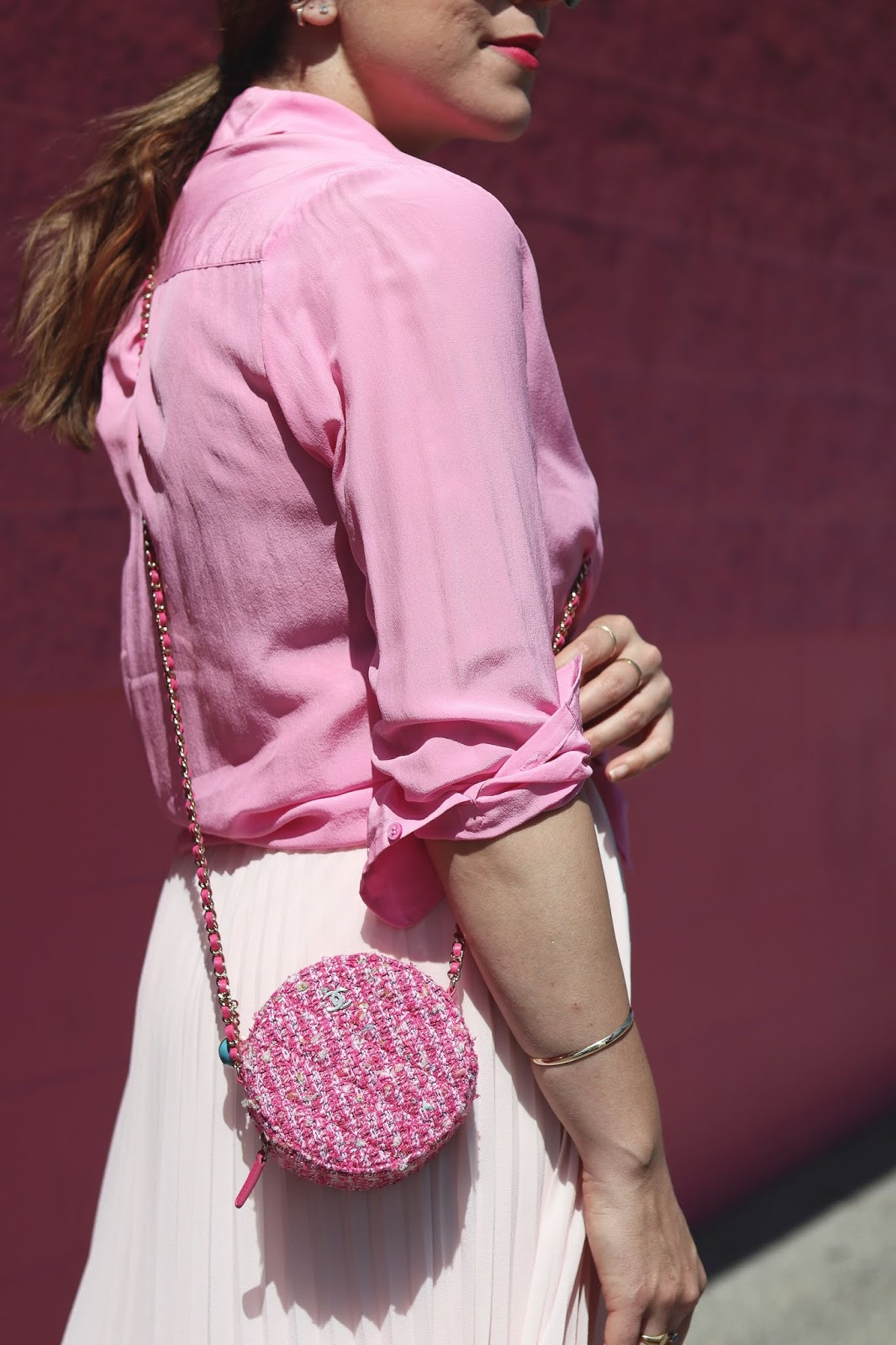 all pink outfit pfg vancouver blogger  aleesha harris chanel circle clutch on a chain