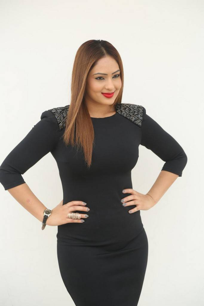Nikesha Patel In Black Dress At Movie Press Meet