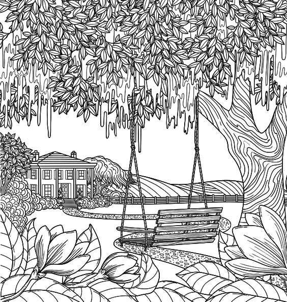 sketsa gambar pemandangan desa