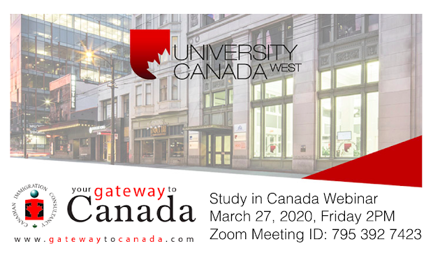Study in Canada Webinar: Info Session with University Canada West and Gateway to Canada