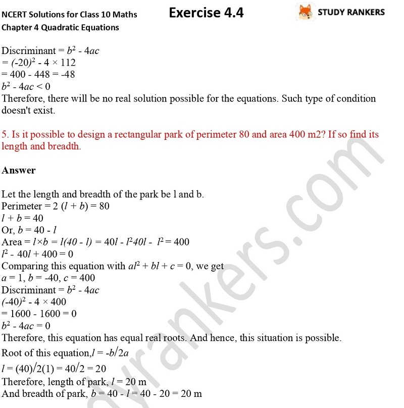 NCERT Solutions for Class 10 Maths Chapter 4 Quadratic Equations Exercise 4.4 Part 4