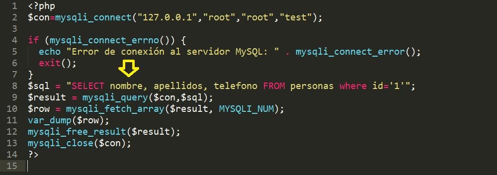 Error consulta php a mysql mysqli_connect