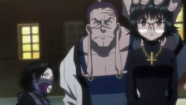 Short guy Feitan wearing skull face mask giant frankenstein looking Franklin holding Shizuku's head