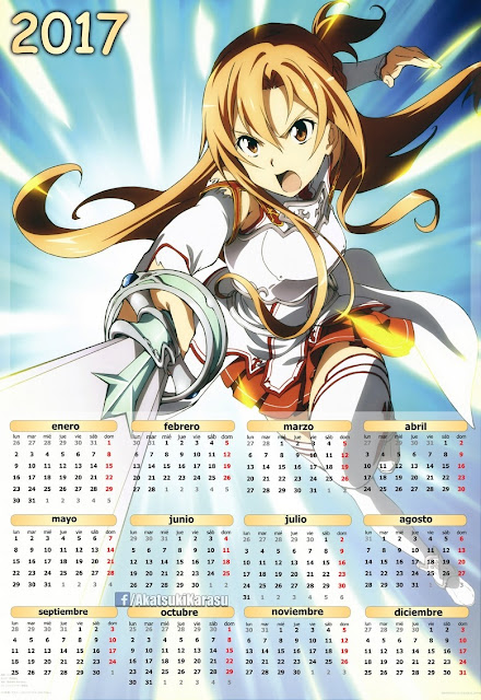 sword art online 2 calendario asuna