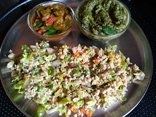 Oil free Kodo millet Veg fried rice, Capsicum curry, Amaranth greens masiyal