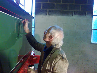 Peter touching up No.2's lining which he had abraded