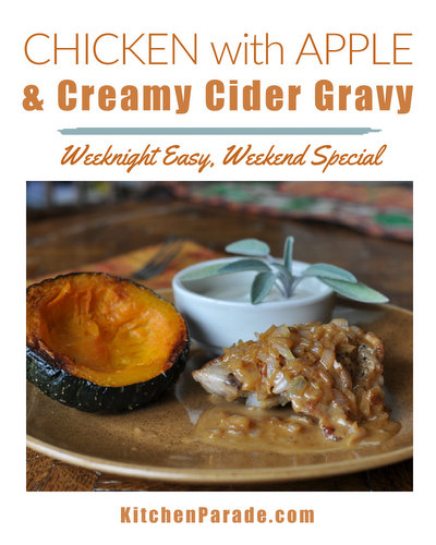 Chicken with Apple & Creamy Cider Gravy ♥ KitchenParade.com, a one-skillet chicken dish, perfect for fall. Full-flavored chicken thighs cradled in creamy gravy made with apple cider.