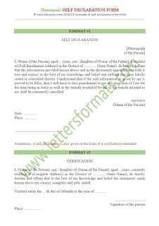 self declaration form format