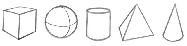 The forms are the box, sphere, cylinder, cone, and pyramid