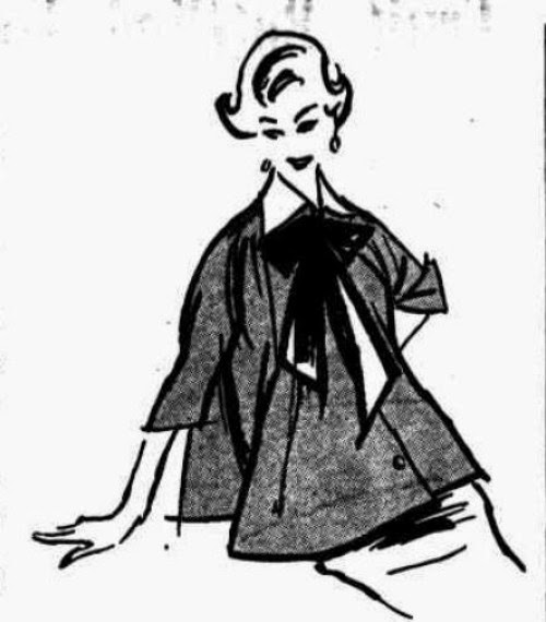 1954 maternity fashion sketch