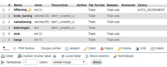 tabel barang - sahretech