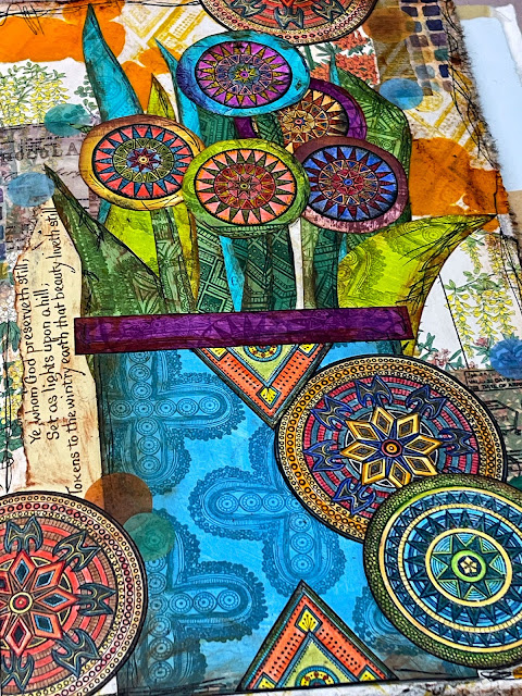 Stamped Floral Collage with Tribal Patches - Gwen Lafleur
