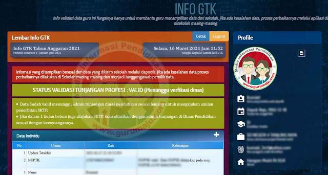 Login Info GTK Semester 2 Tahun Pelajaran 2020/2021 Telah dibuka