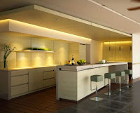 Interesting modern home kitchen island design ideas with white countertops and green cushioned stools