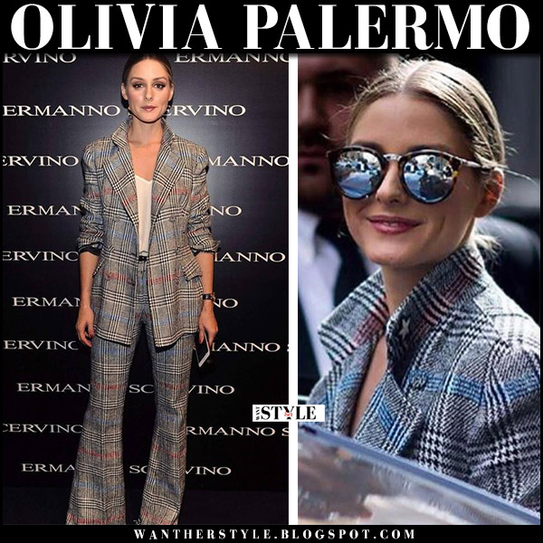 Olivia Palermo in grey plaid jacket, grey plaid pants at Ermanno Scervino show september 24 2017 front row fashion fall trend