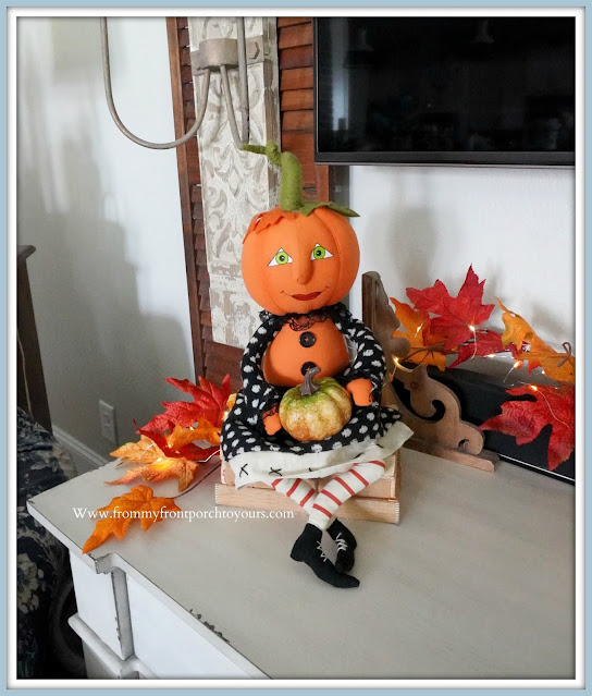 Farmhouse Cottage Fall Fireplace Mantel-Whimsical-Decor-From My Front Porch To Yours