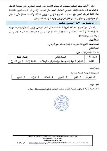 الاطار المرجعي الخاص بالامتحان الاشهادي بالابتدائي - دورة 2021 مادة اللغة العربية
