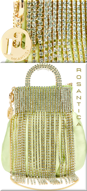 Rosantica green Follie crystal-fringed satin bag #bags #eveningbags #rosantica #brilliantluxury