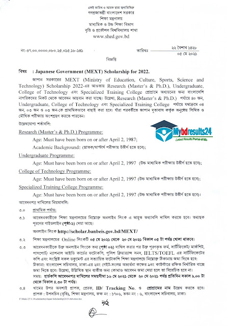 Japanese Government (MEXT) Scholarship Program 2022
