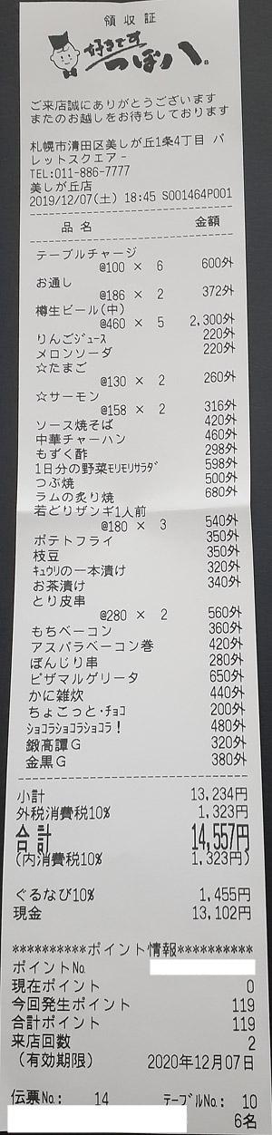 つぼ八 美しが丘店 2019/12/7 飲食のレシート