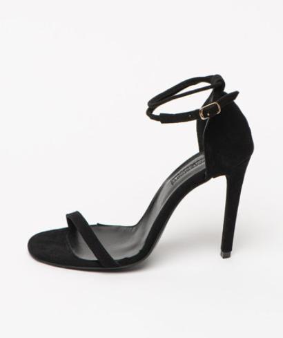 Sandale femei elegante de piele intoarsa naturala negre, cu toc stiletto Mihaela Glavan