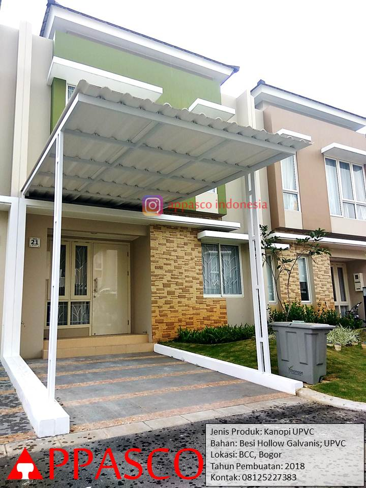 Kanopi Minimalis Besi Galvanis Atap UPVC di BCC Bogor