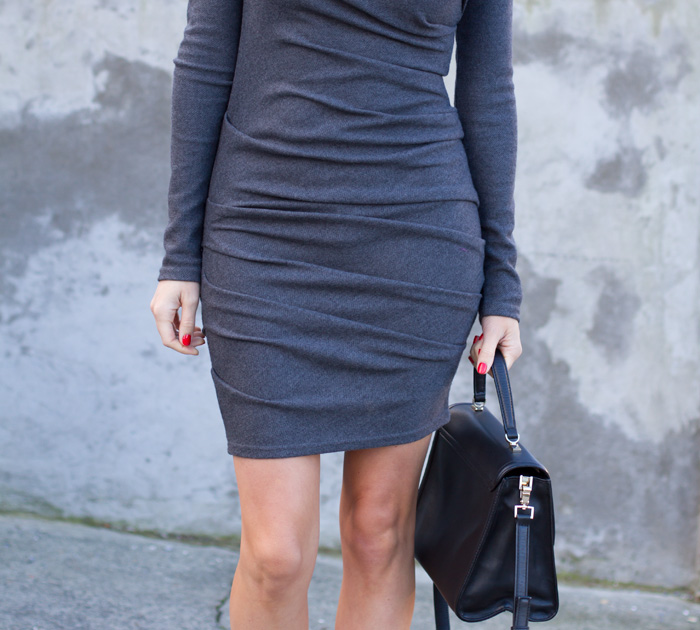 Vancouver fashion blogger, Alison Hutchinson, is wearing an Obakki grey wool bodycon dress, kate spade bag and Zara heels