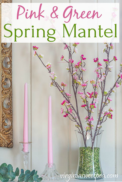 Pink and Green Spring Mantel - A mantel is decorated for spring with pink and green.