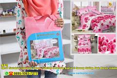 Sprei Kintakun Valentine Queen 160×200 2 Sarung Bantal 2 Sarung Guling Pink Merah Jambu Bunga 3D Dewasa Katun CVC